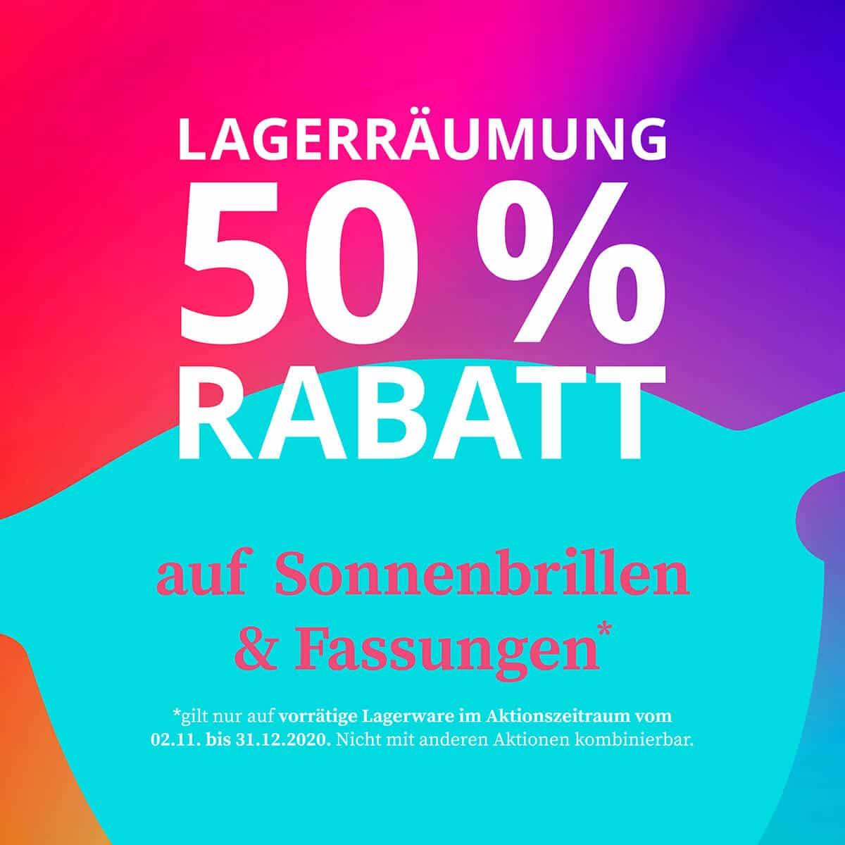 Lagerräumung 50 % Rabatt auf Sonnenbrillen und Fassungen